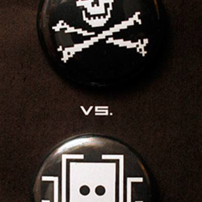 League of space pirates vs Übercorp button set