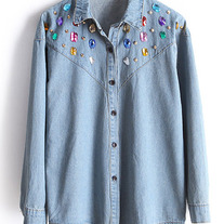 Denim Blouse with colorful diamound