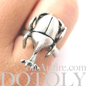 Adjustable Horned Stag Beetle Insect Realistic Animal Ring in Silver