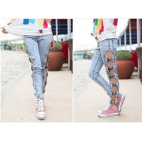Cutout Bow Acid Wash Denim Leggings
