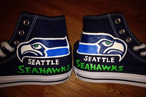 Seattle seahawks hand painted high tops candy 39 s custom for Paint store seattle