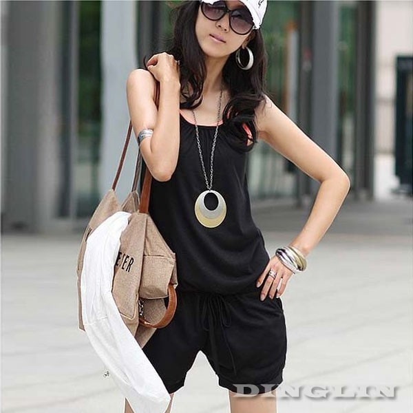 Stylish Women Fashion Halter Sleeveless Strappy Solid Rompers ...