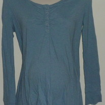 Long Sleeve Blue Stripe Shirt-Liz Lange Maternity Size Large