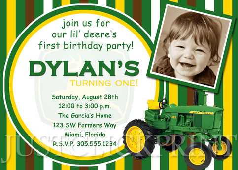 John deere inspired birthday photo invitation printable for Www uprint com templates