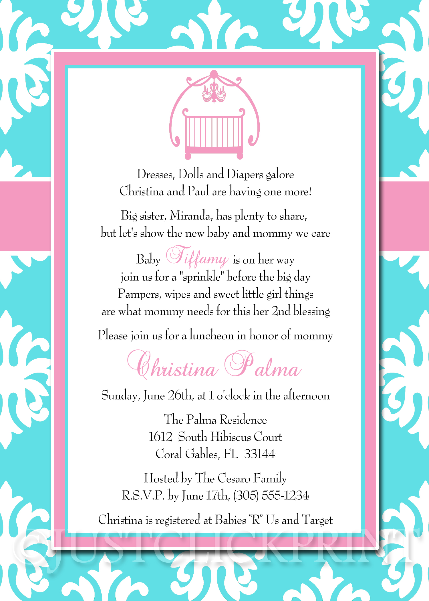 baby sprinkle tiffany blue pink damask baby shower invitation