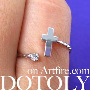 Adjustable Cross Shaped Ring in Silver with Rhinestone Detail