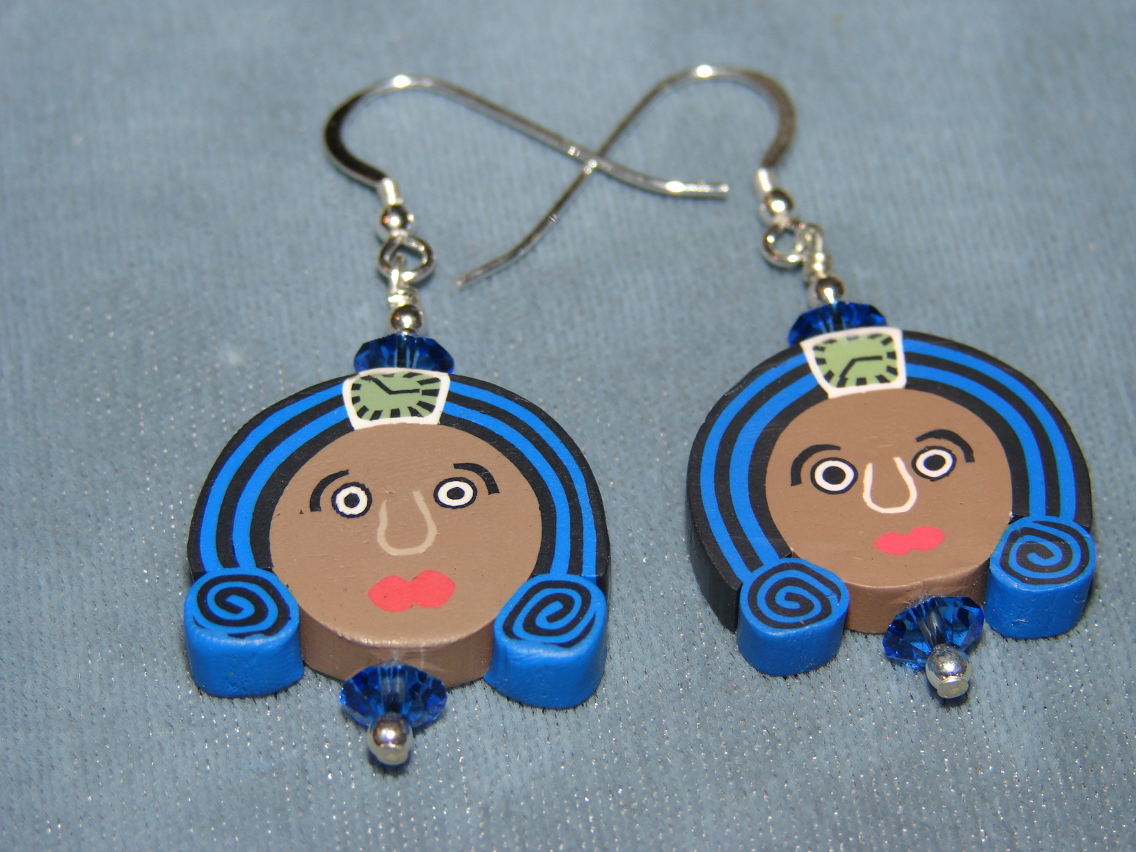 royal apache artistry raa blue fimo face earrings online store powered by storenvy. Black Bedroom Furniture Sets. Home Design Ideas