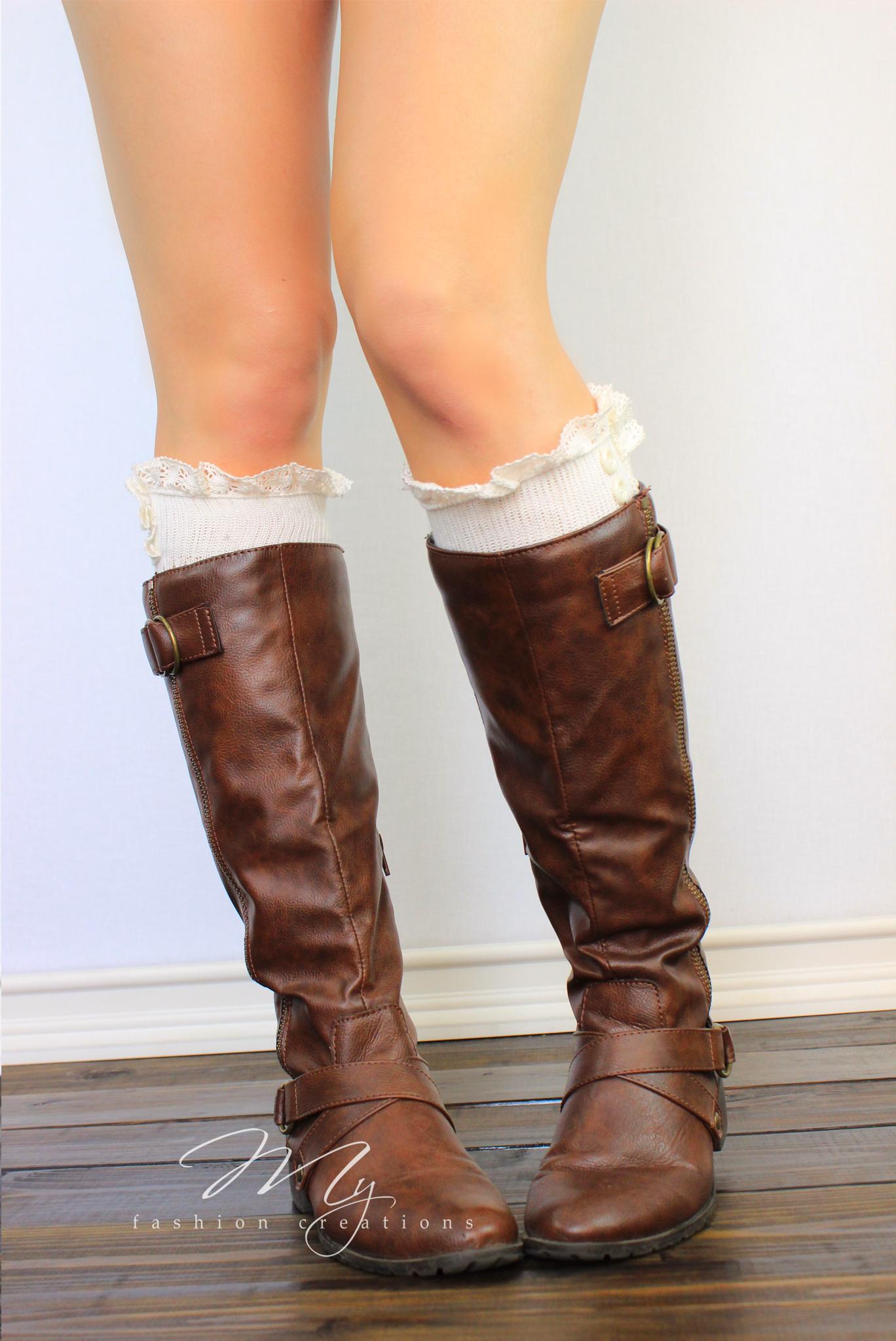 lacy boot socks boot cuffs ivory button socks shark