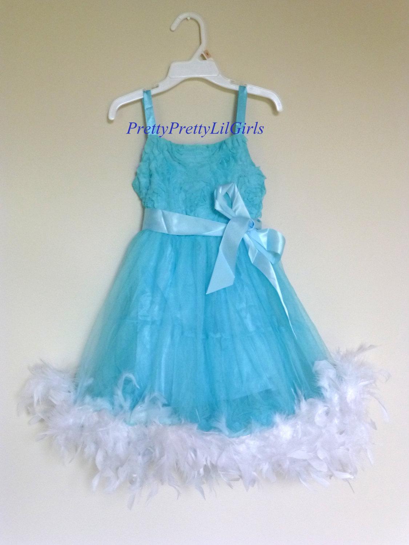 Girls Feather Dress, Princess Dress, Feather Dress, Flower Girl ...