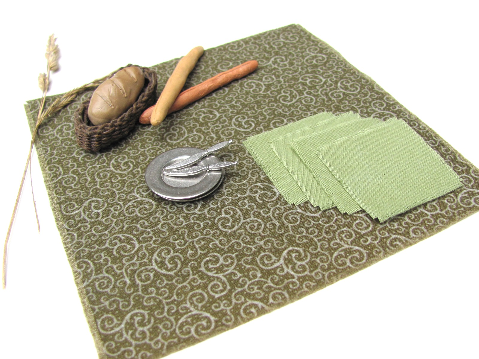 rustic fall woodland green table cloth u0026 napkin set 1 12 scale