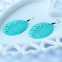 Large Oval Filigree Cutout Turquoise Dangle Earrings