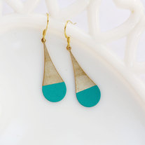Teal Color Dipped Rounded Brass Dangle Earrings