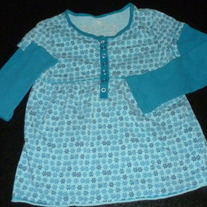 Blue Long Sleeve Shirt with Flowers-The Children's Place Size 7/8