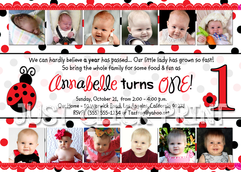 12 Months First Birthday Ladybug Photo Invitation Printable Just – Ladybug Photo Invitations 1st Birthday