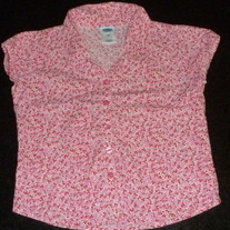 Pink/Red Floral Short Sleeve Shirt-Old Navy Size 3T