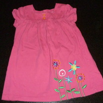 Pink Dress With Flowers-Carters Size 24 Months