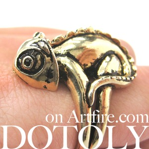3D Realistic Iguana Chameleon Animal Ring in SHINY Silver - Size 5 to 10