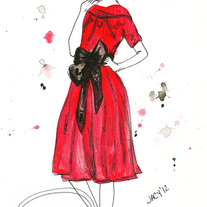 """Ruby's Love"" Ink Watercolor Fashion Illustration"