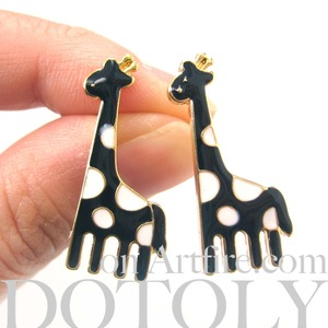 Large Polka Dotted Giraffe Animal Stud Earrings in White and Black