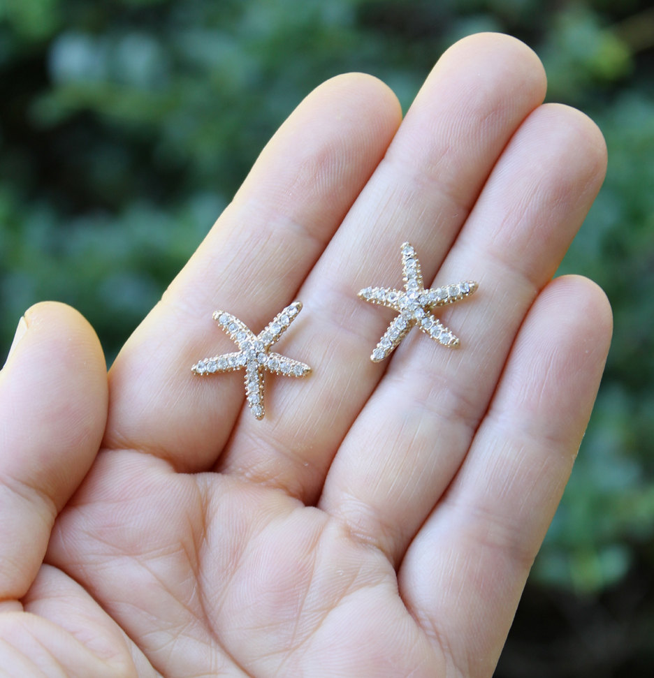 Starfish Earrings Gold Beach Wedding Jewelry Bridal