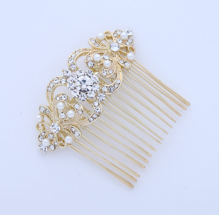 Pearl Hair Comb Gold Wedding Bridal Hair Accessory, Crystal Pearl ...