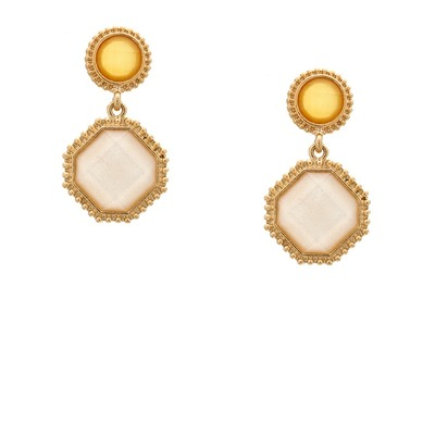 Sparkled jewel drop earrings - yellow