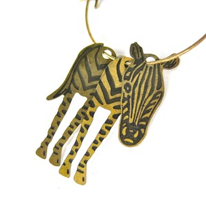 3D Zebra Animal Hoop Dangle Earrings in Bronze