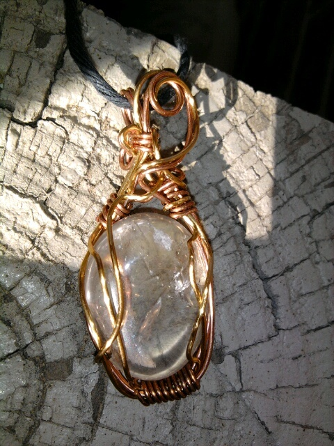 Quartz Pendant in Copper and Aluminum