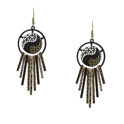 Edgy aztec fringe earrings - mixed metal