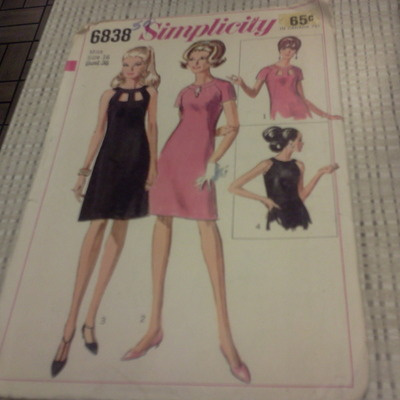 "Beautiful simplicity 6838 awesome women's miss size 16 bust 36 60""s dress pattern"