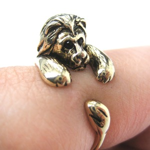 Miniature Lion Animal Wrap Around Ring in SHINY Gold - Sizes 4 to 9 Available
