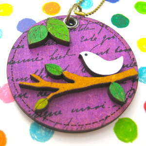 Ink on Wood Dove Bird Animal Pet on a Branch Pendant Necklace Purple