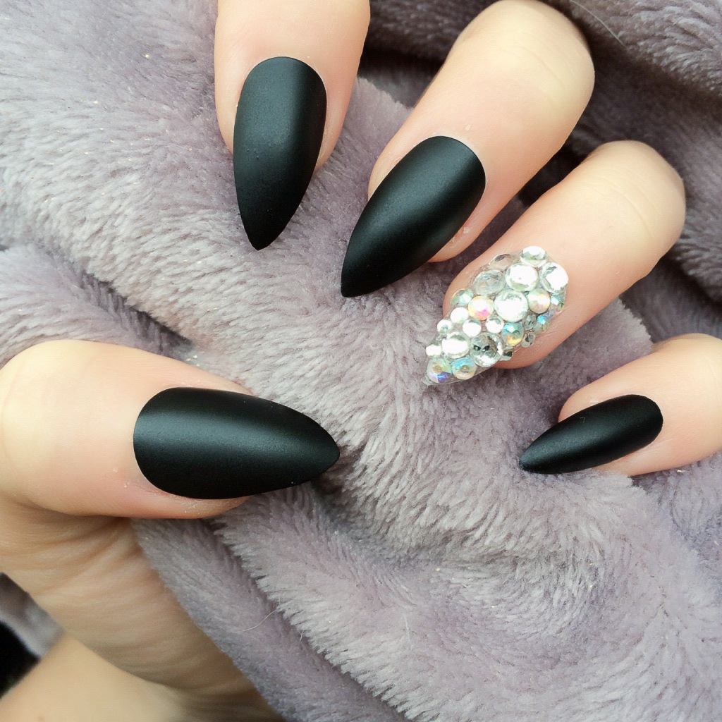 002RF Matte Black Stiletto Swarovski Ring finger on Storenvy
