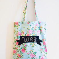 FLOURISH embroidered cotton tote bag