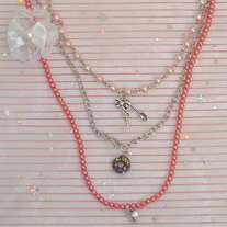 Pink Pearl Donut Pendant Key Spoon Bow Heart Charm Fairy Kei Layered Necklace