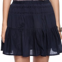 In S, M, & L - navy blue ruffled cotton crochet lace beach preppy tiered gathered mini skirt