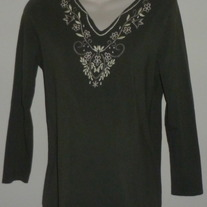 Green Long Sleeve Top with White Stitching-New Additions Maternity Size Medium  CLSR1