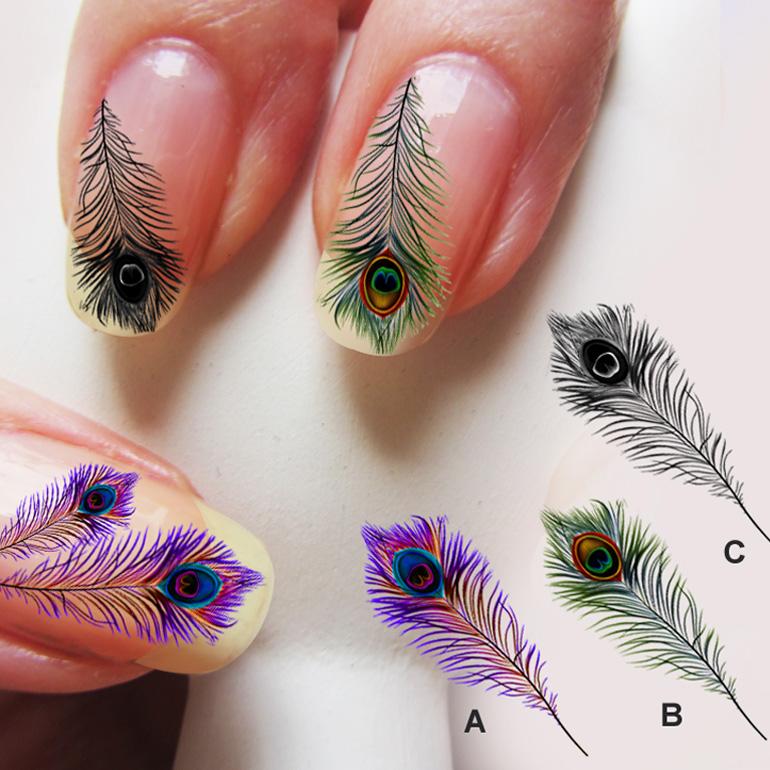 Рисунок на ногтях перышки