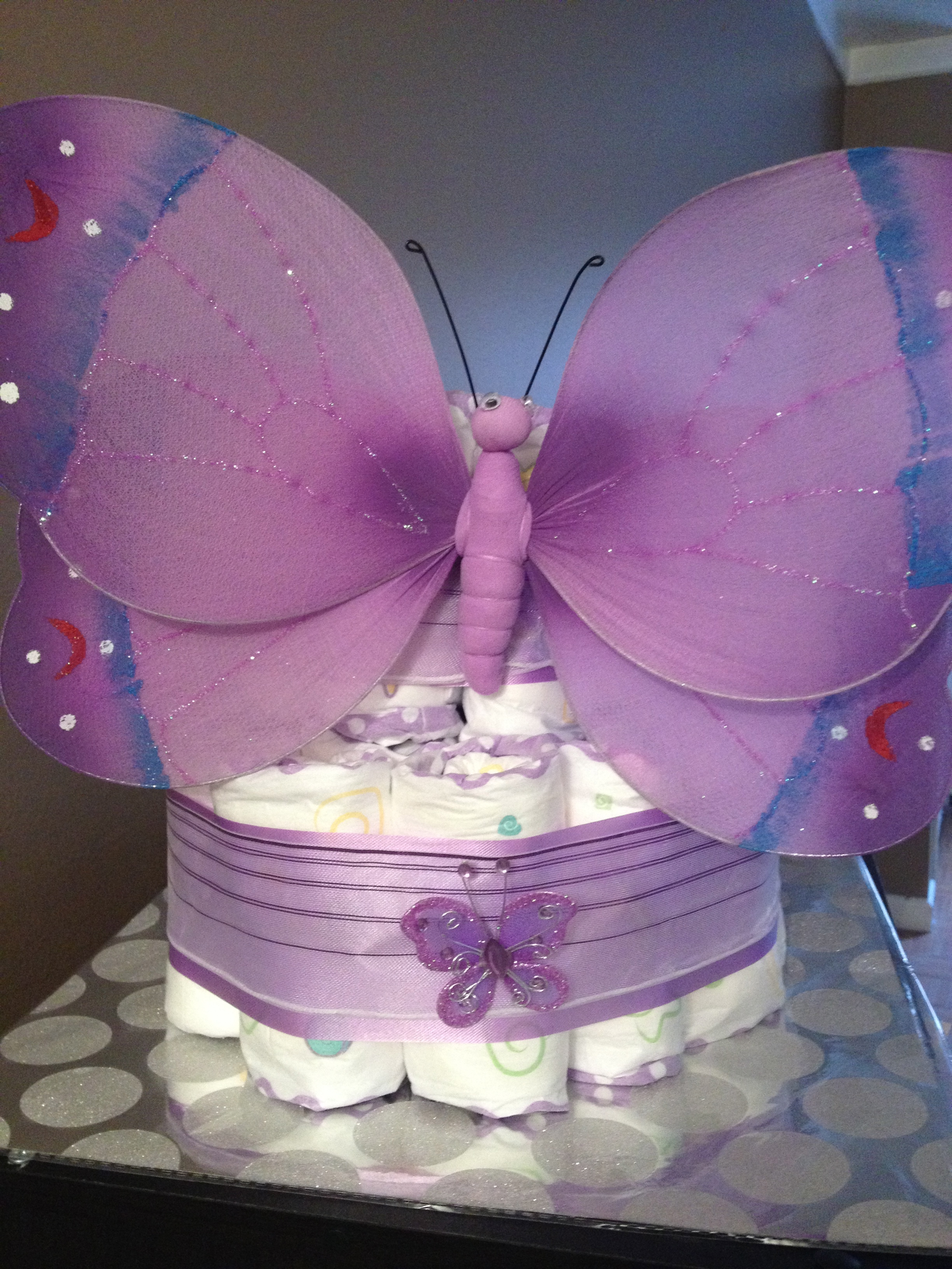 Baby Dreams | 2 tier purple butterfly diaper cake | Online Store