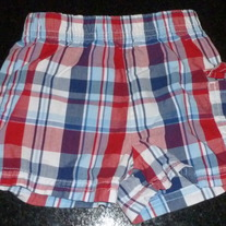 Red/White/Blue Plaid Shorts-Garanimals Size 3-6 Months