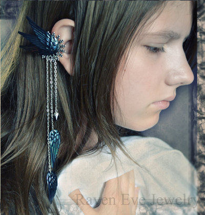 Dark fairy ear cuff ornate filigree