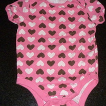 Pink Short Sleeve Onesie with Brown/White Hearts-Old Navy Size 18-24 Months
