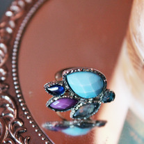 Handmade Dark Pastel Stone Adjustable Ring