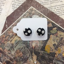Black Patterned Button Earrings *More patterns available