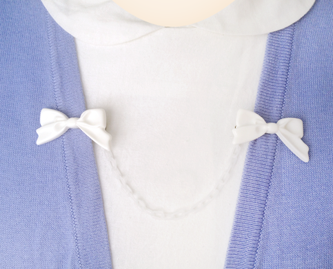 handmade white bow sweater clips