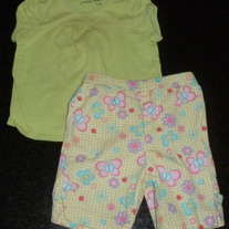 Green Short Sleeve Shirt with Matching Butterfly Capris-Jumping Beans Size 6-9 Months  CLM1