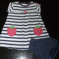 Navy/White Strawberry Dress with Matching Bloomers-Child of Mine By Carters Size 6-9 Months  CLM1
