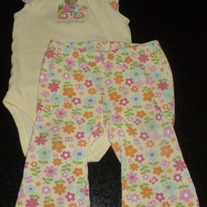 Yellow Floral Off to Grandmas Onesie with Matching Pants-Carters Size 9 Months  CLM1