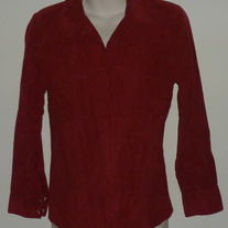 Long Sleeve Deep Red Velvety Top with Snap Buttons-Baby and Me Size Medium