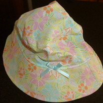 Pastel Color Floral Hat with Blue Ribbon Bow-Infant